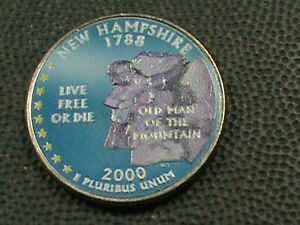 UNITED STATES   25 CENTS   2000 D   NEW HAMPSHIRE   COLORIZED