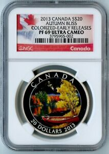 Click now to see the BUY IT NOW Price! 2013 CANADA NGC EARLY RELEASES PF69 UCAM SILVER COLORIZED AUTUMN BLISS S$20
