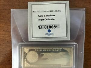 INGOT COLLECTION GOLD CERTIFICATE LAYERED IN 24K GOLD