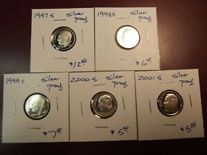 5PC 1997S 1998S 1999S 2000S 2001S SILVER PROOF ROOSEVELT DIMES SEE DESCRIPTION