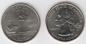 2004P FLORIDA HEADS/TAILS ROLL STATEHOOD QUARTERS UNCIRCULATED COINS