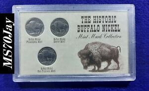 1935 1937 5C INDIAN HEAD BUFFALO NICKEL 3 COIN ALL MINT SET
