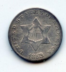 1853 SILVER THREE CENT PIECE   SEE PROMO