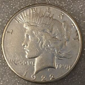 1922  USA PEACE SILVER ONE 1 DOLLAR FREE COMBINED SHIPPING.