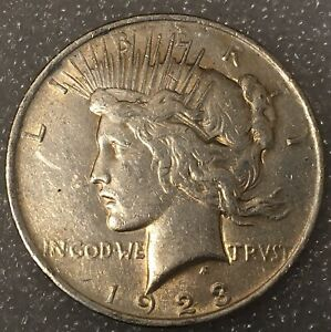 1923  USA PEACE SILVER ONE 1 DOLLAR FREE COMBINED SHIPPING.