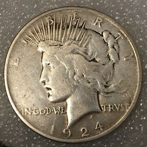 1924  USA PEACE SILVER ONE 1 DOLLAR FREE COMBINED SHIPPING.