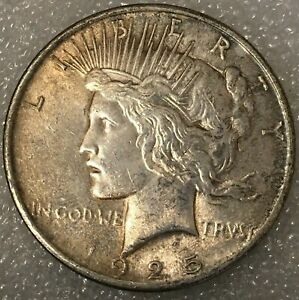 1925  USA PEACE SILVER ONE 1 DOLLAR FREE COMBINED SHIPPING.