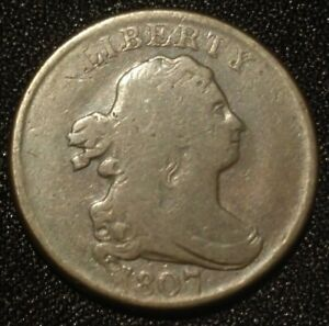 1807 DRAPED BUST HALF CENT USA 1/2C PENNY CHOCOLATE BROWN OBSOLETE DENOMINATION