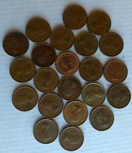 ELIZABETH LL CANADIAN PENNY FOREIGN COIN ROLL OF CIRCULATED OLD COINS 1953 1964