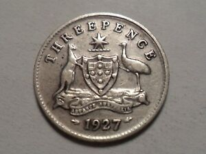 1927 NICE AUSTRALIA 0.9250 SILVER .0419 OZ 3 PENCE MINTAGE ONLY 6 720 000