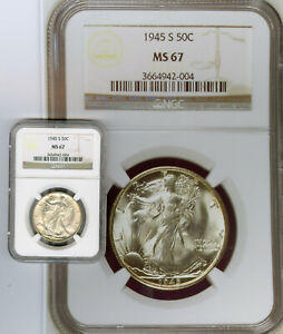 Click now to see the BUY IT NOW Price! 1945 S WALKING LIBERTY 50C SILVER COIN:NGC MS 67  ONLY 42 MS 67