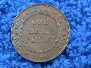 AUSTRALIA  1/2 PENNY  1936   COMBINED SHIPPING  .10 CENTS USA  .19 INTERNATIONAL