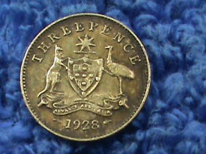 AUSTRALIA  3 PENCE  1928   COMBINED SHIPPING  .10 CENTS USA  .19 INTERNATIONAL