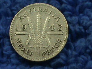 AUSTRALIA  3 PENCE  1943   COMBINED SHIPPING  .10 CENTS USA  .19 INTERNATIONAL