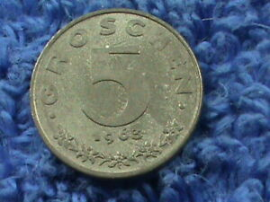 AUSTRIA 5 GROSCHEN 1963  UNC COMBINED SHIPPING  .10 CENTS USA  .19 INTERNATIONAL