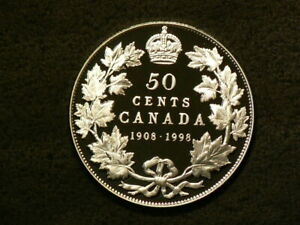 1908 1998 CANADA 50 CENTS PROOF SILVER 92.5  5607
