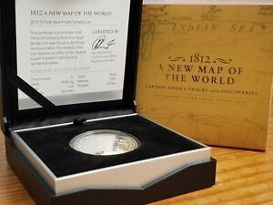 2019 COIN CAPTAIN COOK'S SILVER PROOF MAP OF THE WORLD 1812 $5 SILVER PROOF