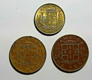 LOT OF 3 JAMAICA COINS. 1962 HALF PENNY. 1942 & 1959 PENNY.