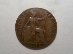 1912 NICE GREAT BRITAIN BZ HALF PENNY MINTAGE 21 185 920 OLD ENGLISH COLLECTION
