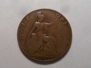 1922 NICE GREAT BRITAIN BZ HALF PENNY MINTAGE 10 734 964 OLD ENGLISH COLLECTION