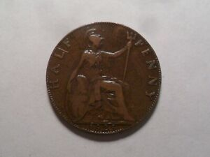 1925 NICE GREAT BRITAIN BZ HALF PENNY MINTAGE 12 216 123 OLD ENGLISH COLLECTION