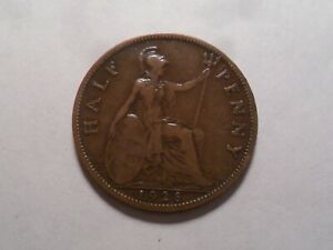 1928 NICE GREAT BRITAIN BZ HALF PENNY MINTAGE 20 935 200 OLD ENGLISH COLLECTION