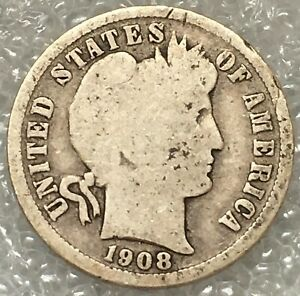 1908 D USA  BARBER SILVER DIME COIN FREE COMBINED SHIPPING
