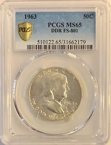 1963 FRANKLIN HALF DOLLAR PCGS MS65 DDR FS 801 TOP POP   STRIKE THRU ERROR