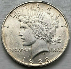 1922 D PEACE SILVER DOLLAR CHOICE BU SHARP AND LUSTROUS