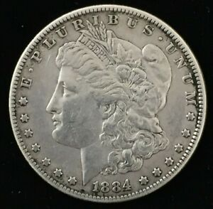 1884 PHILADELPHIA MORGAN SILVER DOLLAR .900 US $1 COIN VF DETAILS COIN CO562