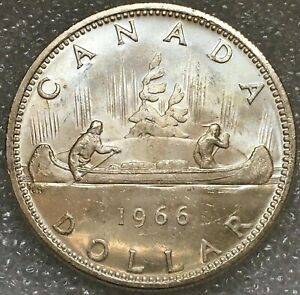1966 CANADA SILVER ONE 1 DOLLAR COIN ELIZABETH II FREE COMBINED S/H