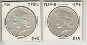 1934 P XF & 1934 D VF PEACE SILVER DOLLAR GREAT SURFACES NO PROBLEMS FREE SHIP