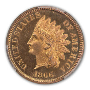 Click now to see the BUY IT NOW Price! 1866 1C INDIAN CENT   TYPE 3 BRONZE PCGS PR67RB