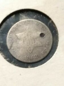 1852 3 CENT SILVER HOLED