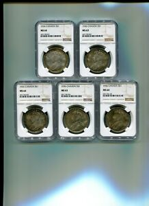 Click now to see the BUY IT NOW Price! ORIGINAL 5PC. LOT 1936 CANADIAN DOLLARS NGC CERTIFIED MS 64 & MS 63