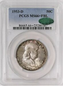 Click now to see the BUY IT NOW Price! 1953 D FRANKLIN HALF DOLLAR   PCGS MD66  FBL