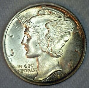 1942 BU MERCURY SILVER DIME 10C US TYPE COIN BRILLIANT UNCIRCULATED PHILADELPHIA