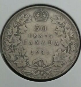 CANADA 50 CENTS SILVER COIN 1931 KING GEORGE V