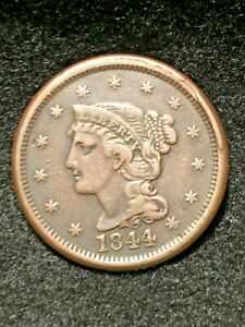 SHARP 1844 BRAIDED HAIR LARGE CENT N 3  VF  WITH  RIM CUD NICE COIN