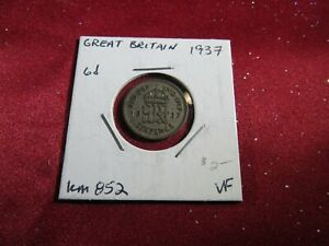 1937 GREAT BRITAIN SIX 6 PENCE 50  SILVER