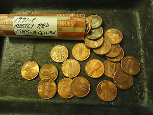 1991 P LINCOLN CENT ROLL      MOSTLY RED CIRCS CONDITION