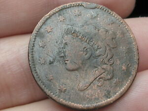 1836 MATRON HEAD MODIFIED LARGE CENT PENNY N 6 R 2 DIE CUD ERROR