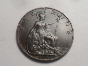 1904 SUPERB   GREAT BRITAIN BRONZE FARTHING LOW MINTAGE 3 629 000