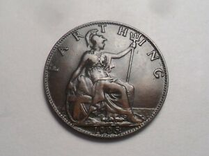 1905 SUPERB   GREAT BRITAIN BRONZE FARTHING LOW MINTAGE 4 077 000