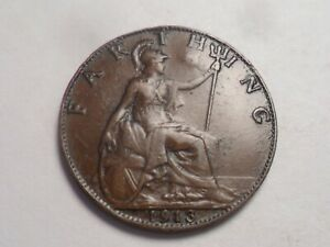 1913 NICE GREAT BRITAIN BRONZE FARTHING LOW MINTAGE 4 184 000
