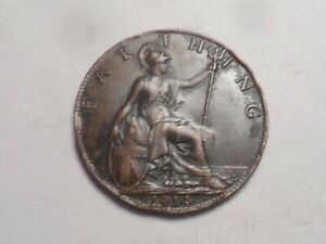 1914  NICE GREAT BRITAIN BRONZE FARTHING LOW MINTAGE 6 127 000