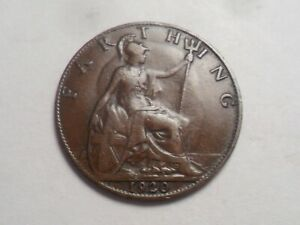 1920 SUPERB   GREAT BRITAIN BRONZE FARTHING LOW MINTAGE 11 481 000
