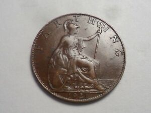 1921 SUPERB   GREAT BRITAIN BRONZE FARTHING LOW MINTAGE 9 469 000