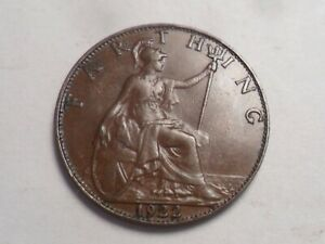 1922 SUPERB   GREAT BRITAIN BRONZE FARTHING LOW MINTAGE 9 957 000