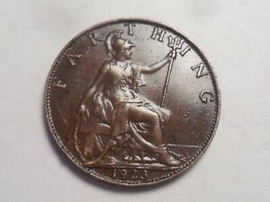 1923 SUPERB   GREAT BRITAIN BRONZE FARTHING LOW MINTAGE 8 034 000
